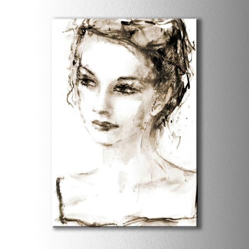 Çizim Kadın Kanvas Tablo