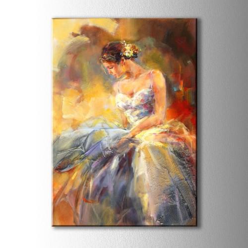 Beyaz Elbiseli Kadın Yağlı Boya Görünümlü Kanvas Tablo