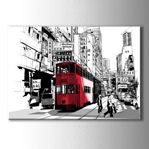 Kırmızı Tranvay Kanvas Tablo