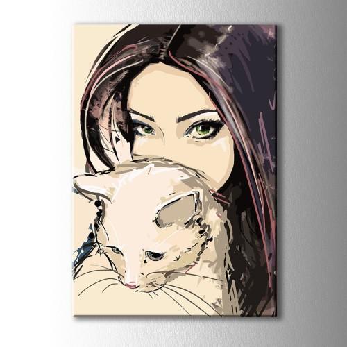 Kedi Seven Kız Kanvas Tablo
