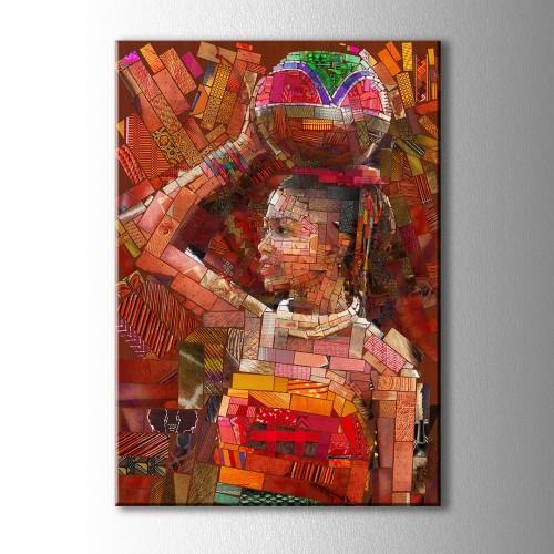 Etnik Dekoratif Kadın Kanvas Tablo