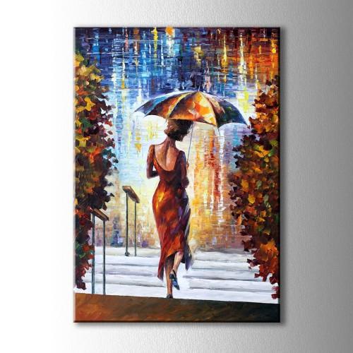 Yağlı Boya Görünümlü Şemsiyeli Kız Kanvas Tablo