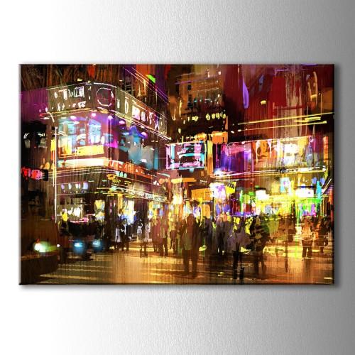 Renkli Sokaklı Kanvas Tablo