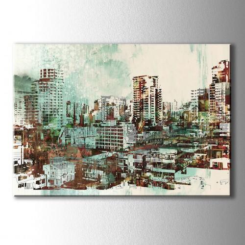 Yağlı Boya Görünümlü Şehir Kanvas Tablo