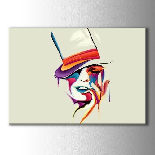 Özel Çizim Şapkalı Kadın