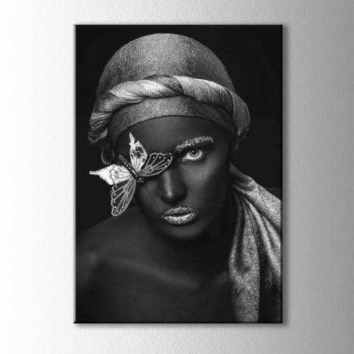 Gümüş ve Siyahi Kadın Kelebekli Portre Kanvas Tablo