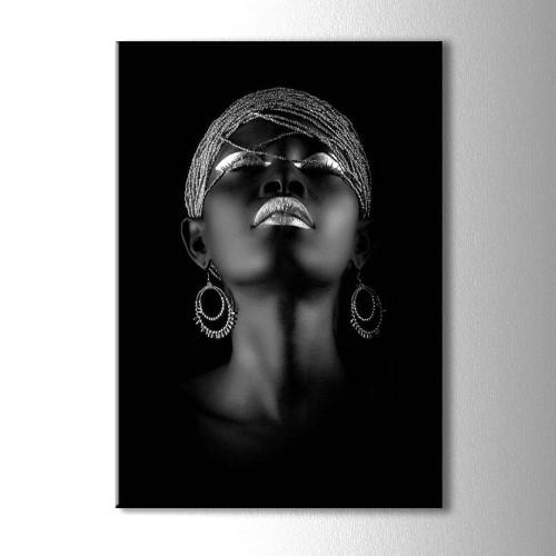 Gümüş ve Siyahi Kadın Kanvas Tablo